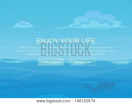 Water ocean sea landscape with sky and clouds and diver silhouette. Website header banner elements layout. Presentation, flyer and poster
