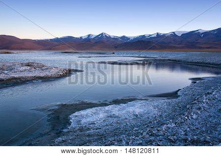 Tso Kar Salt Water Lake In Ladakh, Jammu And Kashmir, India