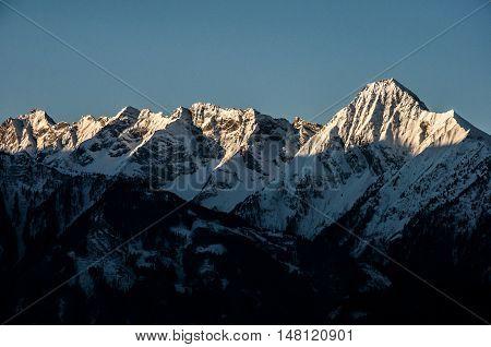 Sunrise at a Mountain Glacier view Zillertal Austria