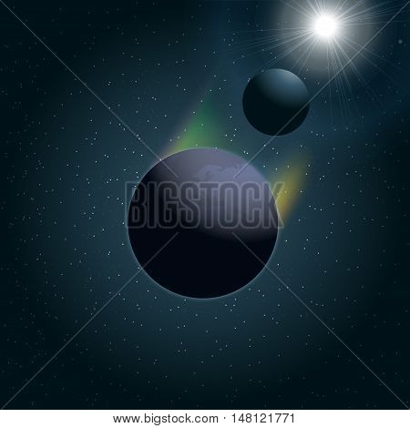 Digital vector planet earth icon with moon and sun eclipse, over stelar background, flat style.