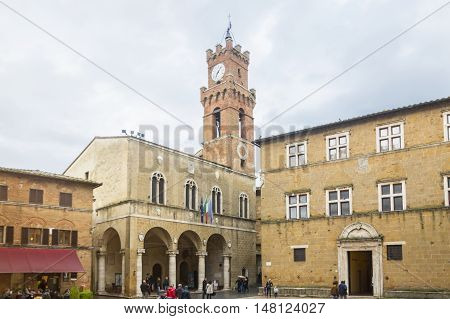 TUSCANY,ITALY-APRIL 23,2016:view of Pienza town square during a cloudy day.