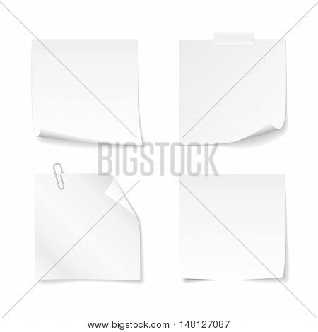 Set of sticky notes with clip and adhesive tape. Vector white paper with curled corner for your message. Isolated from a background.