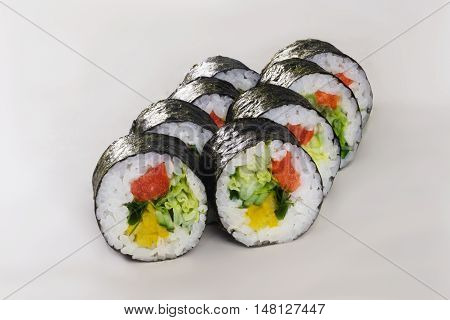 nori roll in tomato bell pepper vegetable vegetarian sushi isolated