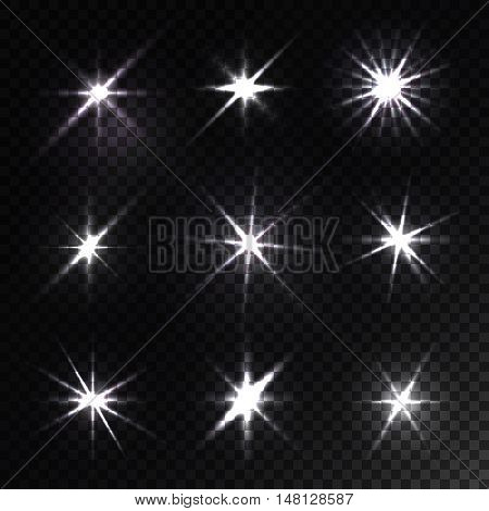 Set of glowing light stars with sparkles isolated on black chess background. Flickering and flashing effects