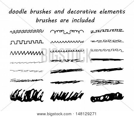 Doodle,ink Brushes And Hand Drawn Decorative Elements. Grunge Style. Brushes Are Included.