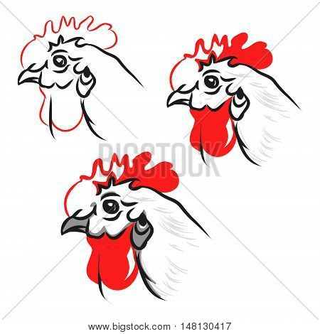 Head of a white chicken with red crest abstract vector illustration of on white background