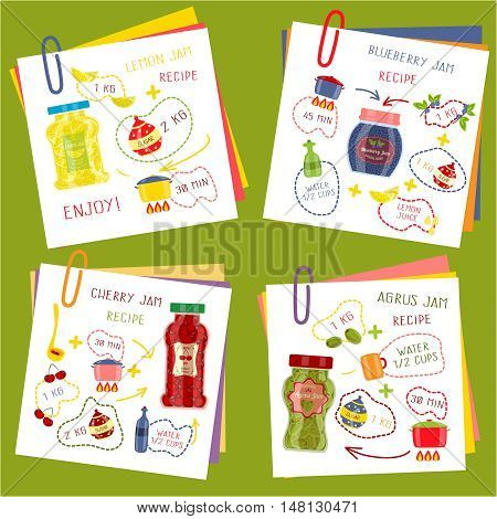 Recipe of cooking jam set including paper sheets and ingredients for fruit dishes isolated vector illustration