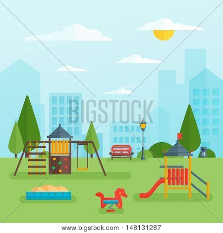 Childrens playground at park with swing slide and sandbox on green grass cityscape in background vector illustration