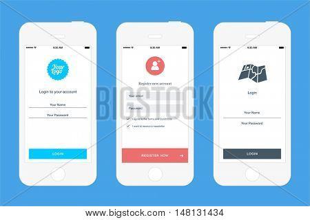 Login screens templates for mobile apps. Best for fast registration websites. Login mockups, wireframes & UI design elements.