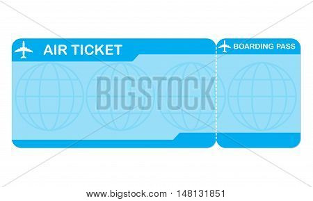 Airplane ticket blank space. Blue boarding pass coupon. Detailed blank of plane ticket.