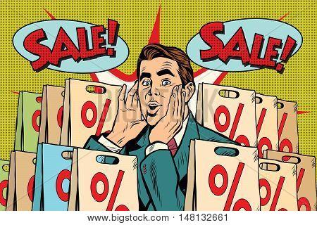 Pop art man buyer percent off sale. retro vector, realistic hand drawn illustration. The sales season in stores