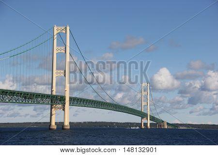 The Mackinac Bridge, a suspension bridge Lake Huron/Michigan in Michigan