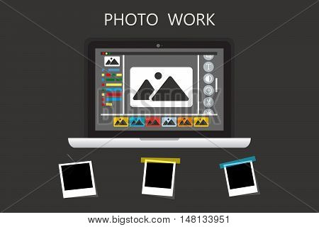 Laptop Icon on gray backgroud with photo frame.Photo work , Photo business. Journalist photographs illustration