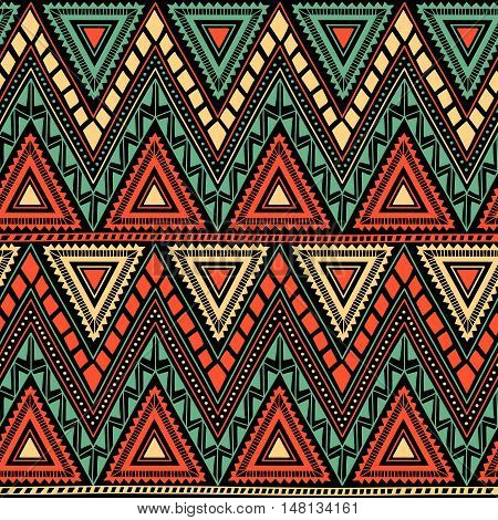 Seamless geometric pattern. Tribal and ethnic motifs. Horizontal stripes in the form of a zigzag. Black, orange, yellow and turquoise colors. Vector illustration. Drawing by hand.
