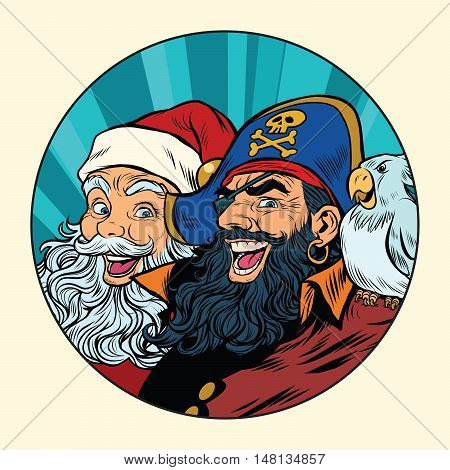 Santa and the pirate, pop art retro vector illustration