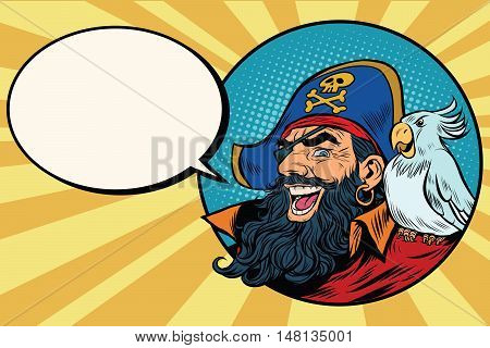 happy pirate with a parrot, pop art comic bubble, retro vector illustration