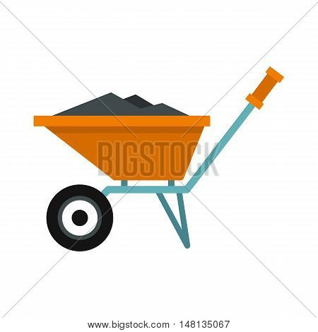 Wheelbarrow with construction debris icon in flat style isolated on white background. Trash symbol vector illustration