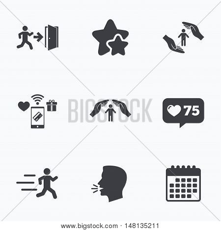 Life insurance hands protection icon. Human running symbol. Emergency exit with arrow sign. Flat talking head, calendar icons. Stars, like counter icons. Vector