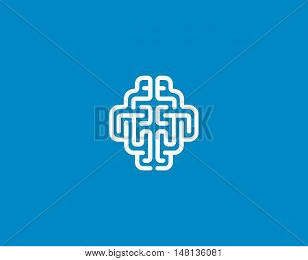 Linear brain logo generate idea design template. Color line android sign. Universal smart mind maze game vector icon