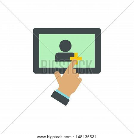 Adding friends on the tablet icon in flat style isolated on white background. Invitation symbol vector illustration