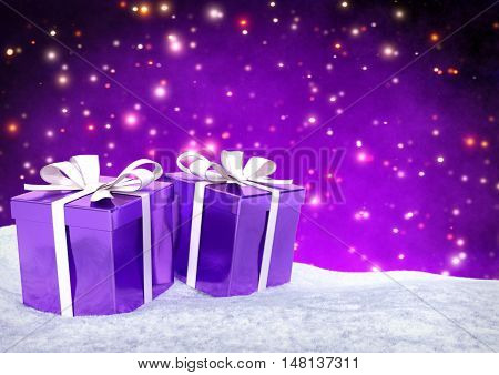 Christmas gifts in snow on bokeh purple background- 3D render.