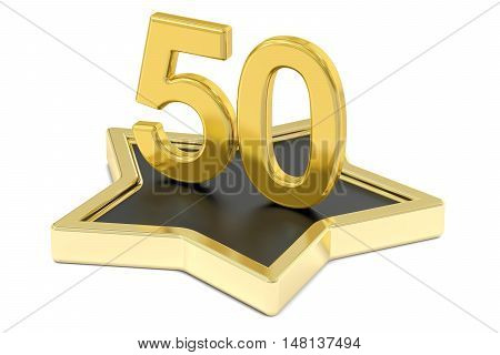 golden number 50 on star podium award concept. 3D rendering isolated on white background