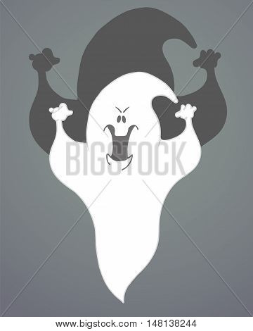 Abstract Halloween Background with Ghost. Vector illustration.