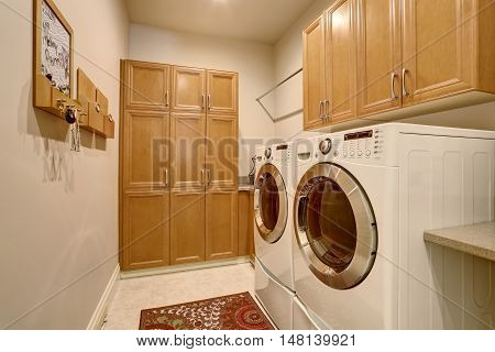 Interior Design Of Laundry Room With Modern Appliances.