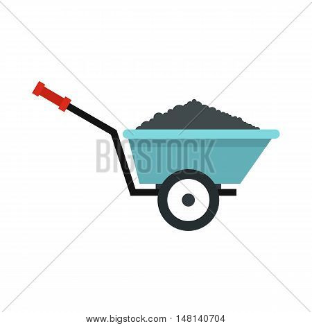 Garden wheelbarrow icon in flat style isolated on white background. Territory cleaning symbol vector illustration