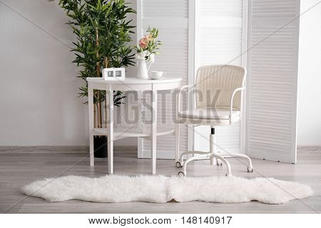 Room interior with white furniture