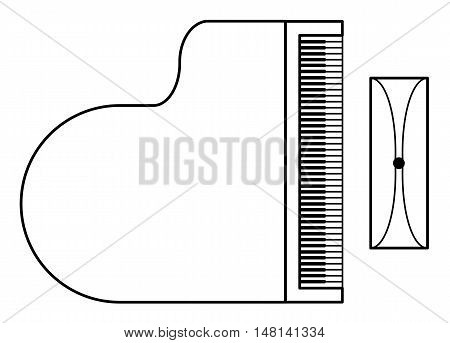 piano with chair symbol on white background isolated