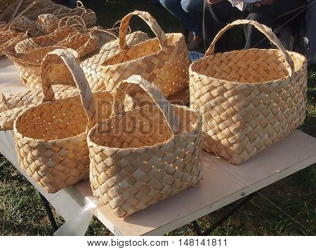 baskets from birch bark for gathering vegetables and fruit