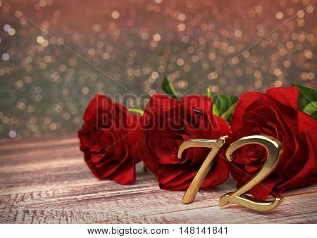 birthday concept with red roses on wooden desk. 3D render - seventy-second birthday. 72nd