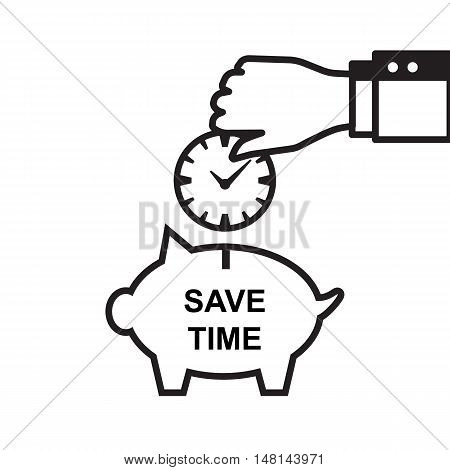 Time Is Money Piggy Bank Icon.