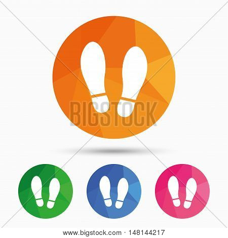 Imprint soles shoes sign icon. Shoe print symbol. Triangular low poly button with flat icon. Vector