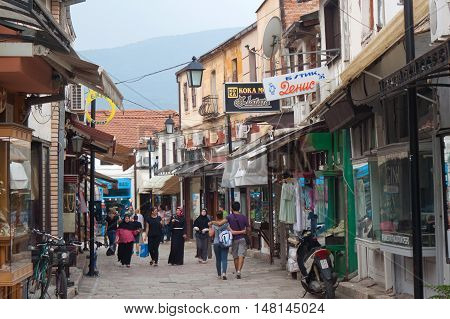 MACEDONIA, SKOPJE - AUGUST 08, 2014: Old town in the center of Skopje, Macedonia. Skopje is the capital and largest city of the Republic of Macedonia.