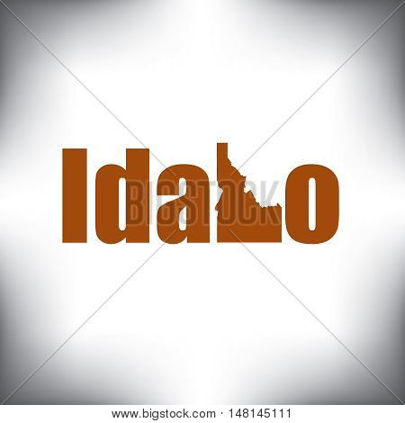 The Idaho shape is within the Idaho name in this state graphic