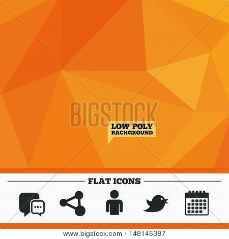 Triangular low poly orange background. Social media icons. Chat speech bubble and Share link symbols. Bird sign. Human person profile. Calendar flat icon. Vector