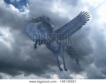Black Pegasus in Blue Sky 3D Illustration - A black Pegasus horse rises on powerful wings up into a blue sky with billowing white clouds.