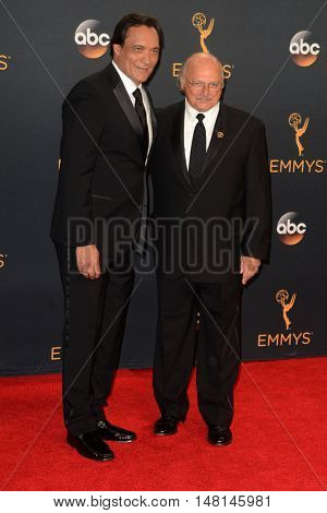 LOS ANGELES - SEP 18:  Jimmy Smits, Dennis Franz at the 2016 Primetime Emmy Awards - Press Room at the Microsoft Theater on September 18, 2016 in Los Angeles, CA