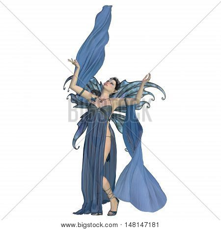 Fairy Elven on White 3D Illustration - A fairy is a creature of folklore and legend and has pointed long ears is small in stature and has wings.