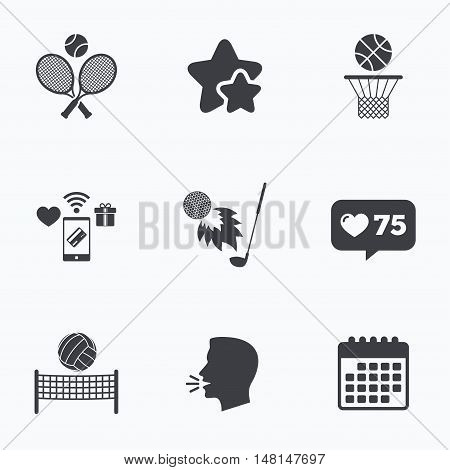 Tennis rackets with ball. Basketball basket. Volleyball net with ball. Golf fireball sign. Sport icons. Flat talking head, calendar icons. Stars, like counter icons. Vector