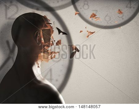 3D Rendering of face crumbling and background with watches