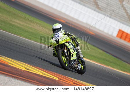 CHESTE, SPAIN - SEPTEMBER 17th: Aitor Garcia in SuperStock600 during Spanish Speed Championship CEV at Cheste Circuit on September 17, 2016 in Cheste, Spain