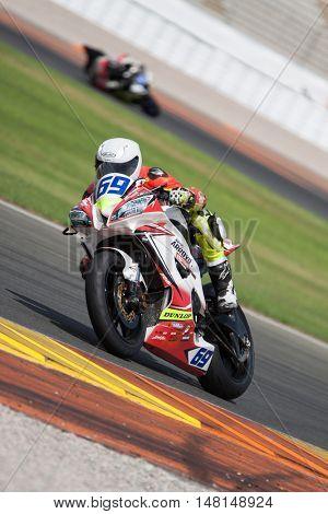 CHESTE, SPAIN - SEPTEMBER 17th: Hugo Abadie in SuperStock600 during Spanish Speed Championship at Cheste Circuit on September 17, 2016 in Cheste, Spain