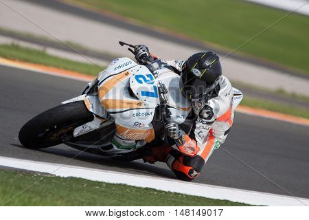 CHESTE, SPAIN - SEPTEMBER 17th: Juan Antonio Bellver in SuperStock600 during Spanish Speed Championship CEV at Cheste Circuit on September 17, 2016 in Cheste, Spain