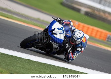 CHESTE, SPAIN - SEPTEMBER 17th: Augusto Fernandez in SuperStock600 during Spanish Speed Championship CEV at Cheste Circuit on September 17, 2016 in Cheste, Spain