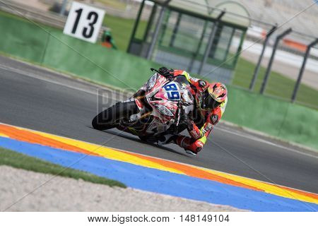 CHESTE, SPAIN - SEPTEMBER 17th: Christian Palomares in SuperStock600 during Spanish Speed Championship CEV at Cheste Circuit on September 17, 2016 in Cheste, Spain
