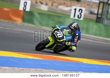 CHESTE, SPAIN - SEPTEMBER 17th: Jose Julian Garcia in Moto3 during Spanish Speed Championship CEV at Cheste Circuit on September 17, 2016 in Cheste, Spain