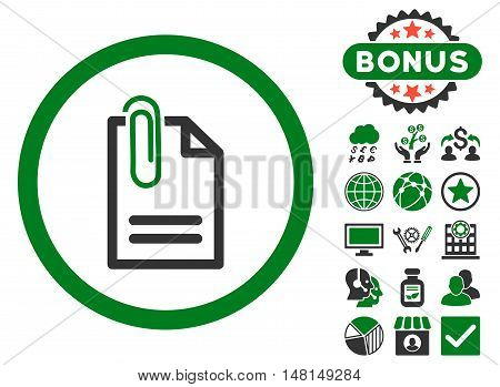 Attach Document icon with bonus elements. Vector illustration style is flat iconic bicolor symbols green and gray colors white background.